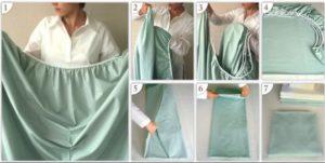 Схема складывания белья на резинке