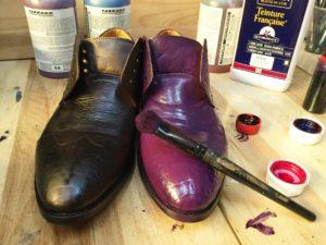 Покраска туфлей из дермантина