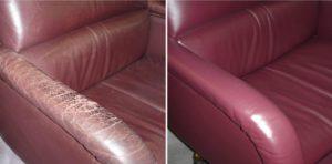 Потресканный кожзаменитель на диване