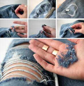 Процесс формирования дырок на джинсах