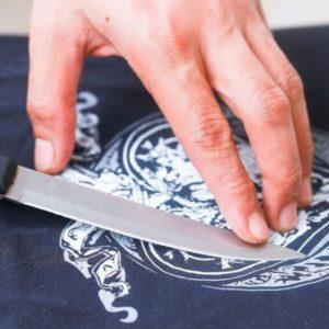 Отдирание рисунка ножом