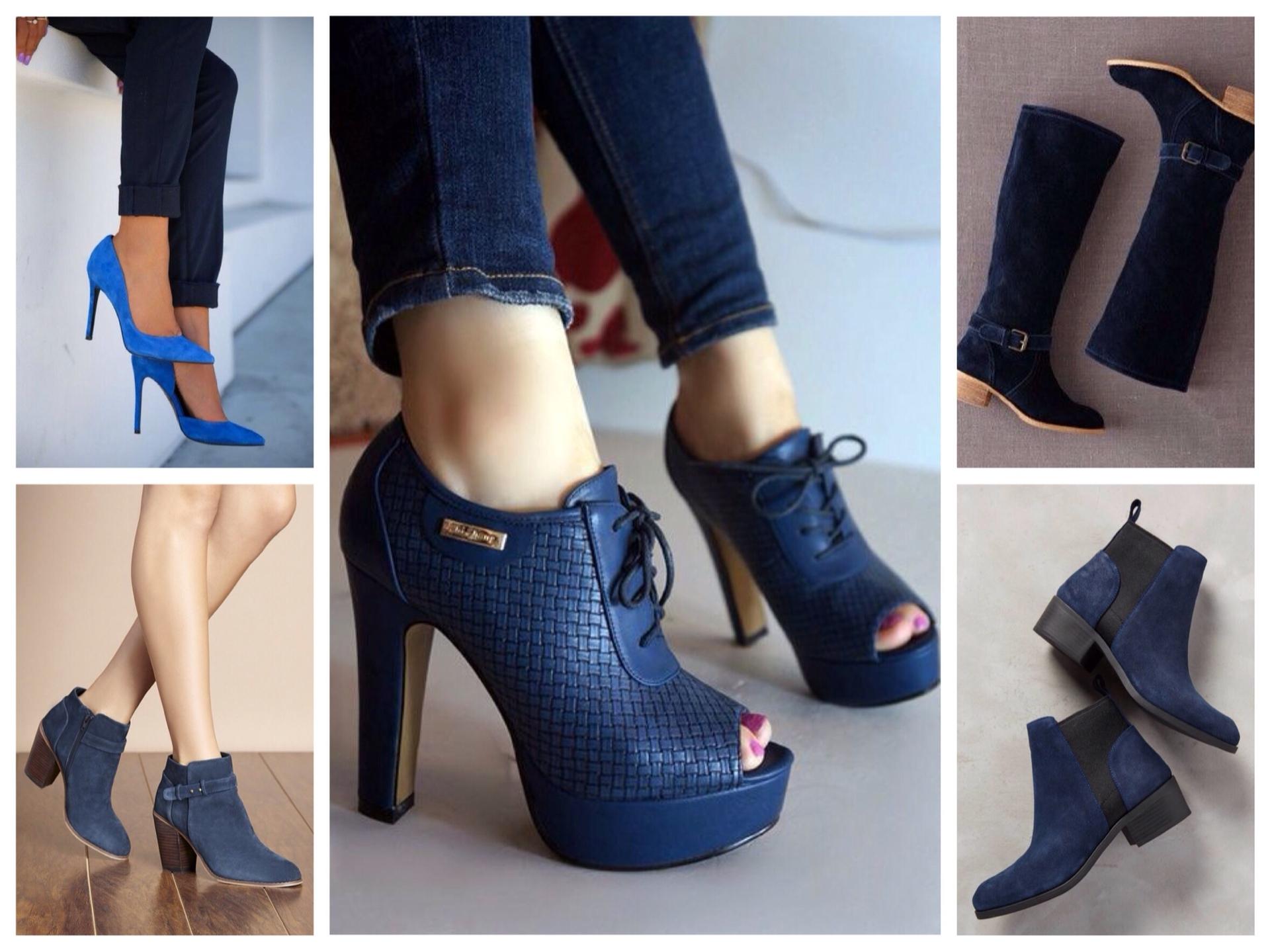 обувь к синему жакету
