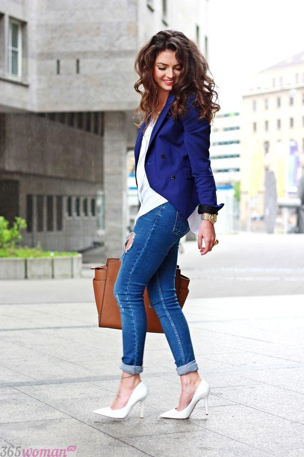 Жакет с джинсами