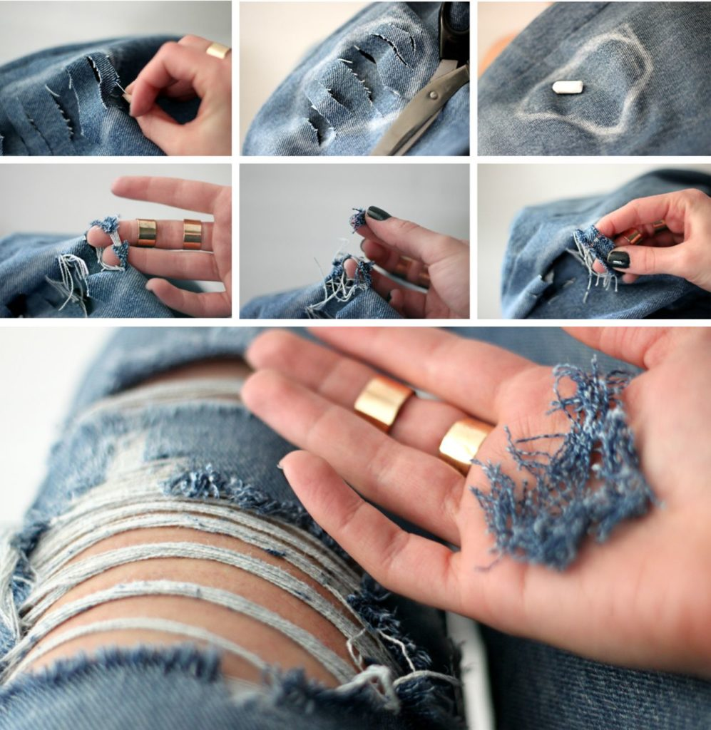 Как сделать дыры на шортах