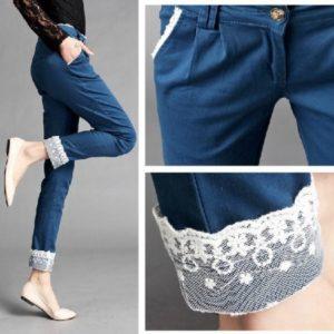 Удлиненные штаны кружевом