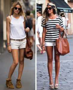 С чем носить белые шорты