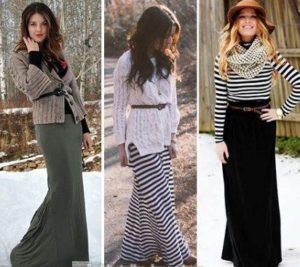 длинная юбка и кофта зимой