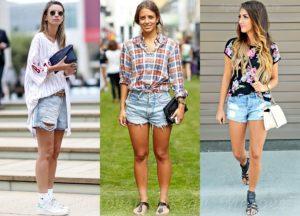джинсовые шорты и обувь