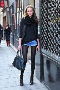 джинсовые шорты в холодную погоду