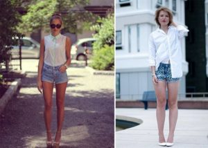 джинсовые шорты с блузкой