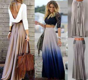 кофта с открытой спиной и длинная юбка