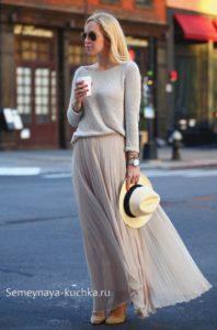 удачные сочетаниядлинной юбки и кофты