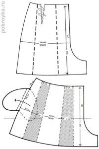 разрезать выкройку, чтобы получить юбку-шорты