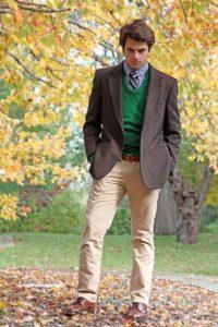 Осенний образ с мужским коричневым пиджаком
