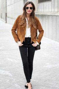Женский коричневый пиджак из замша