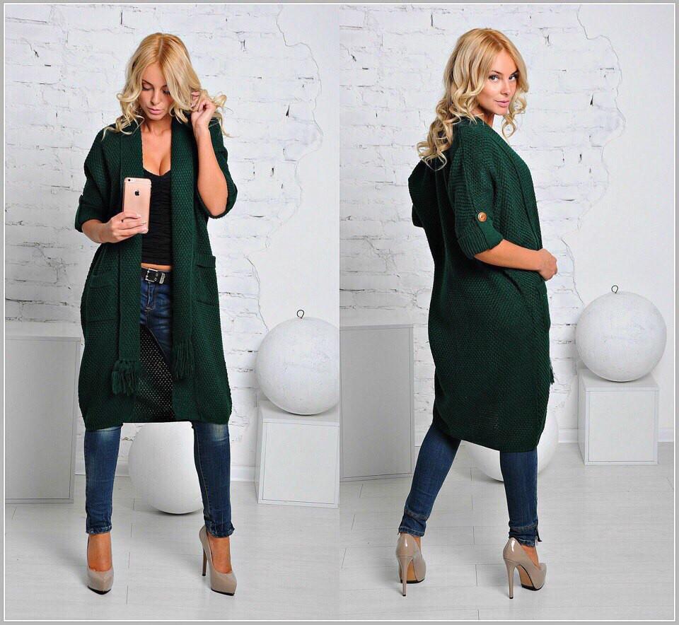 Зеленый кардиган с джинсами