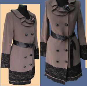 Декор пальто кружевом