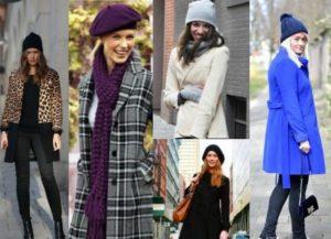Различные варианты комбинации пальто и шапки