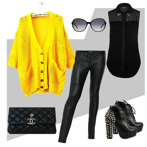 Желтый кардиган
