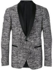 Мужской твидовый пиджак с кожаным воротником
