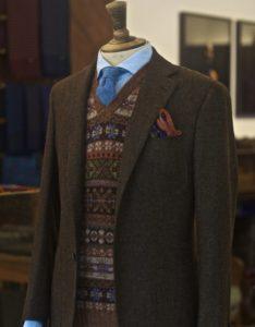 Мужской твидовый пиджак в британском стиле
