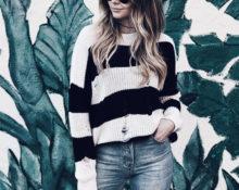 Пуловер, вязанный по предложенной схеме