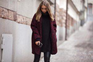 Сочетания с бордовым пальто оверсайз