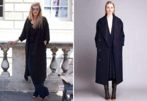 Сочетания с черным пальто оверсайз