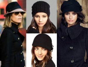 разные модели шапок под пальто
