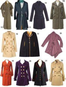 разновидности фасонов пальто