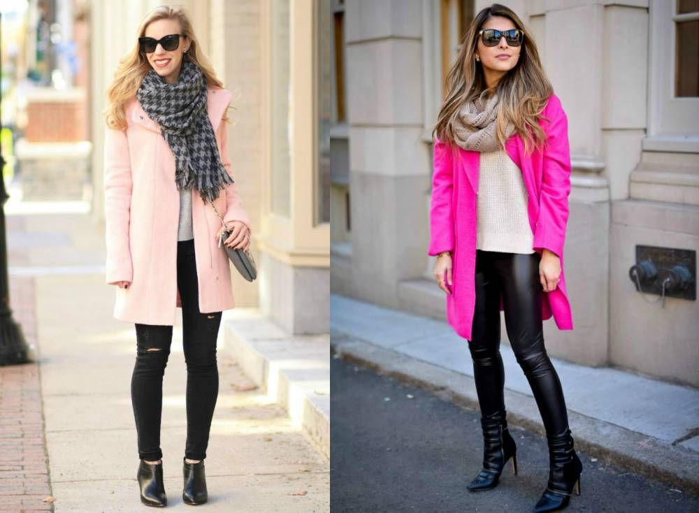 Розовое пальто с шарфом
