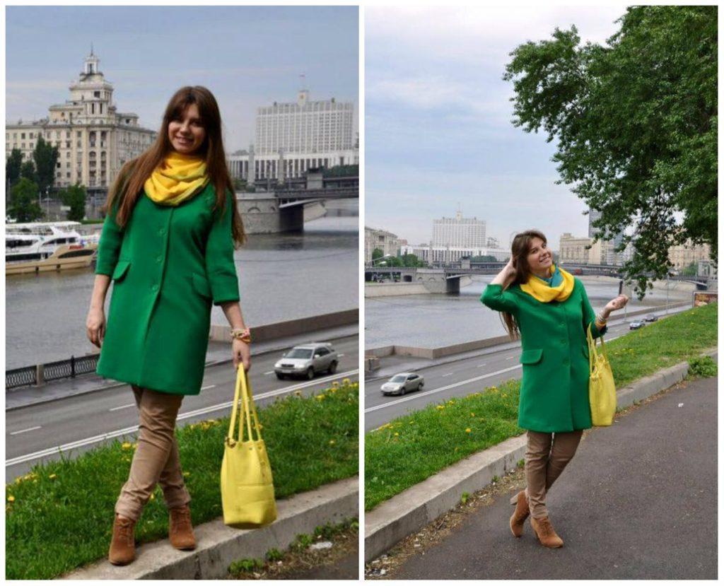 Шарф к зеленому пальто