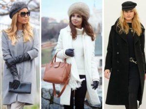 разные варианты головных уборов под пальто