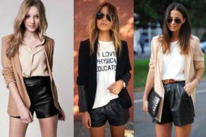 кожаные шорты с чем носить