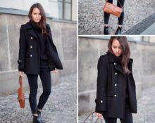 с чем носить чёрное пальто