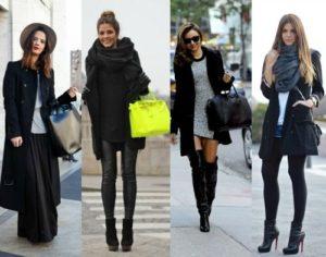 аксессуары с чёрным пальто