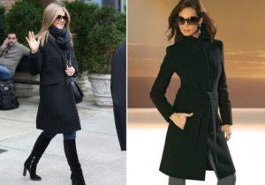 чёрное пальто до колена