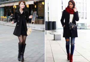 короткое чёрное пальто