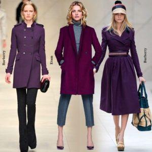 разные пальто фиолетового цвета