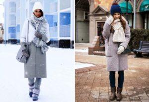Объемные зимние шарфы под серое пальто