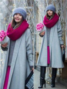 Яркий образ с серым пальто