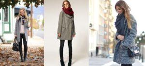 Вариации шарфов под серое пальто