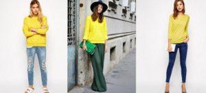 с чем носить яркий желтый джемпер