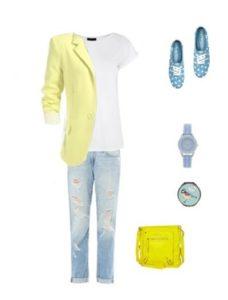 как выбрать футболку под желтый пиджак