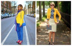 обувь в образе с желтым пиджаком