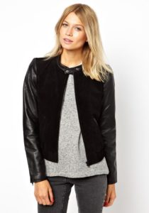 Кожаный пиджак с замшевыми вставками
