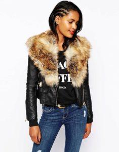 Кожаный пиджак с меховыми вставками