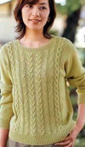 как связать спицами женский пуловер