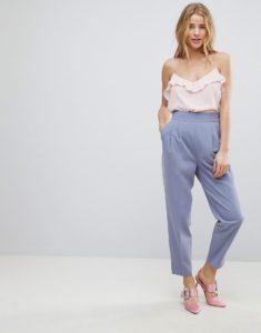 сиреневые брюки с завышенной талией