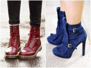 Разные виды ботинки